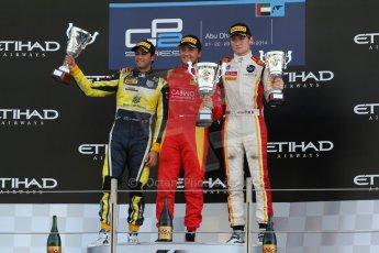 World © Octane Photographic Ltd. Sunday 23rd November 2014. GP2 Race 2 Podium – Abu Dhabi GP - Yas Marina Circuit, United Arab Emirates. Stefano Coletti - Racing Engineering, Felipe Nasr - Carlin and Arthur Pic - Campos Racing. Digital Ref :1170CB7D9180