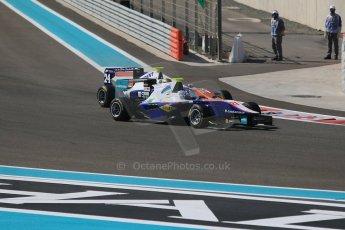 World © Octane Photographic Ltd. Sunday 23rd November 2014. GP3 Race 2 – Abu Dhabi GP - Yas Marina Circuit, United Arab Emirates. Matheo Tuscher - Jenzer Motorsport and Ryan Cullen - Trident. Digital Ref :