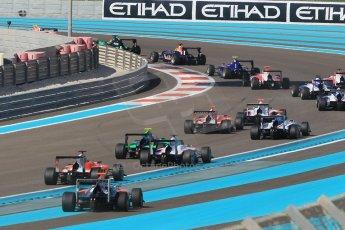 World © Octane Photographic Ltd. Sunday 23rd November 2014. GP3 Race 2 – Abu Dhabi GP - Yas Marina Circuit, United Arab Emirates. Patric Neiderhauser - Arden International leads the field. Digital Ref :