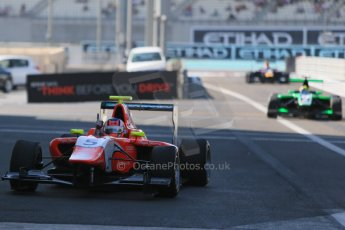 World © Octane Photographic Ltd. Sunday 23rd November 2014. GP3 Race 2 Parc Ferme– Abu Dhabi GP - Yas Marina Circuit, United Arab Emirates. Patric Neiderhauser - Arden International. Digital Ref :1169LB1D6697