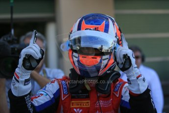 World © Octane Photographic Ltd. Sunday 23rd November 2014. GP3 Race 2 Parc Ferme – Abu Dhabi GP - Yas Marina Circuit, United Arab Emirates. Patric Neiderhauser - Arden International. Digital Ref :1169LB1D6741