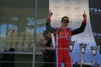 World © Octane Photographic Ltd. Sunday 23rd November 2014. GP3 Race 2 – Abu Dhabi GP Podium - Yas Marina Circuit, United Arab Emirates. Patric Neiderhauser - Arden International. Digital Ref :1169LB1D6781