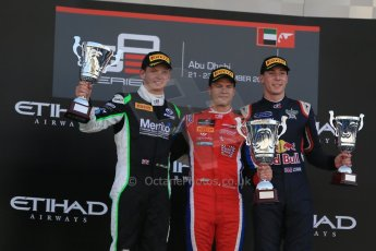 World © Octane Photographic Ltd. Sunday 23rd November 2014. GP3 Race 2 – Abu Dhabi GP Podium - Yas Marina Circuit, United Arab Emirates. Patric Neiderhauser - Arden International, Nick Yelloly – Status Grand Prix and Alex Lynn – Carlin. Digital Ref :1169LB1D6836