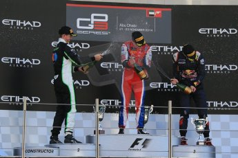 World © Octane Photographic Ltd. Sunday 23rd November 2014. GP3 Race 2 – Abu Dhabi GP Podium - Yas Marina Circuit, United Arab Emirates. Patric Neiderhauser - Arden International, Nick Yelloly – Status Grand Prix and Alex Lynn – Carlin. Digital Ref :1169LB1D6849
