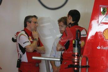 World © Octane Photographic Ltd. Tuesday 25th November 2014. Abu Dhabi Testing - Yas Marina Circuit. Scuderia Ferrari - Sebastian Vettel and Pat Fry. Digital Ref: 1174LB1D8188
