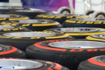World © Octane Photographic Ltd. Tuesday 25th November 2014. Abu Dhabi Testing - Yas Marina Circuit. Infiniti Red Bull Racing RB10 tyres being got ready. Digital Ref: 1174LB1D8264