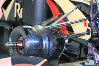 World © Octane Photographic Ltd. Wednesday 26th November 2014. Abu Dhabi Testing - Yas Marina Circuit. Lotus F1 Team E22 front suspension and brake detail. Digital Ref: 1175CB1D8640