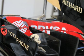 World © Octane Photographic Ltd. Wednesday 26th November 2014. Abu Dhabi Testing - Yas Marina Circuit. Lotus F1 Team E22 front wing detail. Digital Ref: 1175CB1D8673