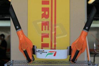 World © Octane Photographic Ltd. Wednesday 26th November 2014. Abu Dhabi Testing - Yas Marina Circuit. Sahara Force India VJM07 front brake cooling blowers. Digital Ref: 1175CB1D8743