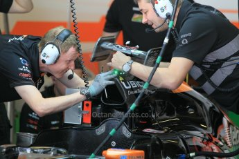 World © Octane Photographic Ltd. Wednesday 26th November 2014. Abu Dhabi Testing - Yas Marina Circuit. Sahara Force India VJM07 being fitted with the Anthony Hamilton designed camera display system. Digital Ref: 1175CB1D9045