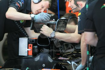 World © Octane Photographic Ltd. Wednesday 26th November 2014. Abu Dhabi Testing - Yas Marina Circuit. Sahara Force India VJM07 being fitted with the Anthony Hamilton designed camera display system. Digital Ref: 1175CB1D9054