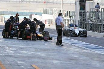 World © Octane Photographic Ltd. Wednesday 26th November 2014. Abu Dhabi Testing - Yas Marina Circuit. Williams Racing FW36 – Felipe Nasr and Infiniti Red Bull Racing RB10 – Daniel Ricciardo. Digital Ref: 1175CB1D9247