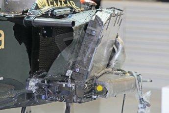 World © Octane Photographic Ltd. Wednesday 26th November 2014. Abu Dhabi Testing - Yas Marina Circuit. Lotus F1 Team E22 striped chassis. Digital Ref: 1175CB1D9316