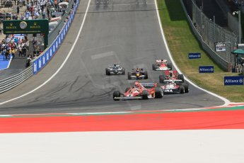World © Octane Photographic Ltd. Sunday 22nd June 2014. Red Bull Ring, Spielberg – Austria, Formula 1 Legends. Niki Lauda in his Ferrari 321T2 leads the Legends parade laps. Digital Ref: 1003LB1D4516