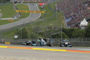 World © Octane Photographic Ltd. Saturday 21st June 2014. GP2 Race 1 – Red Bull Ring, Spielberg - Austria. Conor Daly - Venezuela GP Lazarus and Facu Regalia - Hilmer Motorsport. Digital Ref : 0997LB1D1602