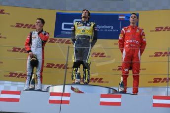World © Octane Photographic Ltd. Saturday 21st June 2014. GP2 Race 1 – Red Bull Ring, Spielberg - Austria. Felipe Nasr - Carlin, Stoffel Vandoorne - ART Grand Prix and Raffaele Marciello - Racing Engineering. Digital Ref : 0997LB1D3601