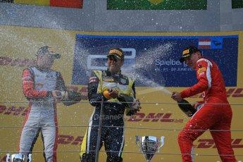 World © Octane Photographic Ltd. Saturday 21st June 2014. GP2 Race 1 – Red Bull Ring, Spielberg - Austria. Felipe Nasr - Carlin, Stoffel Vandoorne - ART Grand Prix and Raffaele Marciello - Racing Engineering. Digital Ref : 0997LB1D3652