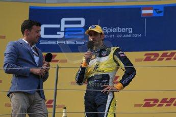 World © Octane Photographic Ltd. Saturday 21st June 2014. GP2 Race 1 – Red Bull Ring, Spielberg - Austria. Felipe Nasr - Carlin and NBC's Will Buxton. Digital Ref : 0997LB1D3710
