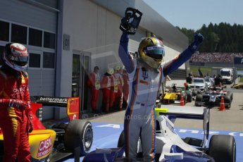 World © Octane Photographic Ltd. Sunday 22nd June 2014. GP2 Race 2 Park Ferme – Red Bull Ring, Spielberg - Austria. Johnny Cecotto - Trident. Digital Ref : 0999LB1D1635