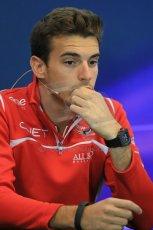 World © Octane Photographic Ltd. Thursday 21st August 2014. Belgian GP, Spa-Francorchamps - Formula 1 FIA Press Conference. Marussia F1 Team - Jules Bianchi. Digital Ref : 1078LB1D6167
