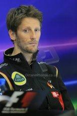 World © Octane Photographic Ltd. Thursday 21st August 2014. Belgian GP, Spa-Francorchamps - Formula 1 FIA Press Conference. Lotus f1 Team - Romain Grosjean. Digital Ref: 1078LB1D6247