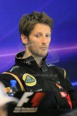 World © Octane Photographic Ltd. Thursday 21st August 2014. Belgian GP, Spa-Francorchamps - Formula 1 FIA Press Conference. Lotus f1 Team - Romain Grosjean. Digital Ref: 1078LB1D6255