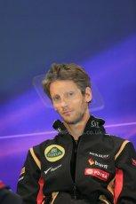 World © Octane Photographic Ltd. Thursday 21st August 2014. Belgian GP, Spa-Francorchamps - Formula 1 FIA Press Conference. Lotus f1 Team - Romain Grosjean. Digital Ref: 1078LB1D6360