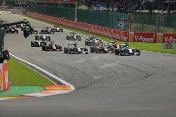 World © Octane Photographic Ltd. Sunday 24th August 2014, Belgian GP, Spa-Francorchamps. - Formula 1 Race. Mercedes AMG Petronas F1 W05 Hybrid – Lewis Hamilton leads on race start. Digital Ref: 1090LB1D1672