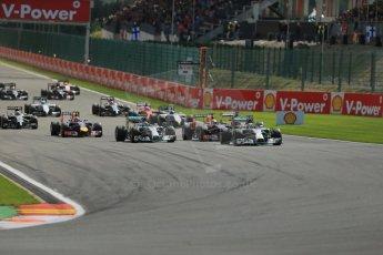 World © Octane Photographic Ltd. Sunday 24th August 2014, Belgian GP, Spa-Francorchamps. - Formula 1 Race. Mercedes AMG Petronas F1 W05 Hybrid – Lewis Hamilton leads on race start. Digital Ref: 1090LB1D1676