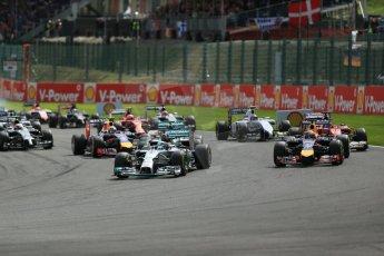 World © Octane Photographic Ltd. Sunday 24th August 2014, Belgian GP, Spa-Francorchamps. - Formula 1 Race. Mercedes AMG Petronas F1 W05 Hybrid – Lewis Hamilton leads on race start. Digital Ref: 1090LB1D1689