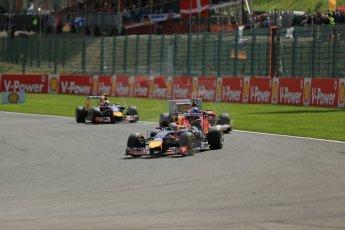 World © Octane Photographic Ltd. Sunday 24th August 2014, Belgian GP, Spa-Francorchamps. Formula 1 Race. Infiniti Red Bull Racing RB10 - Sebastian Vettel. Digital Ref: 1090LB1D1805