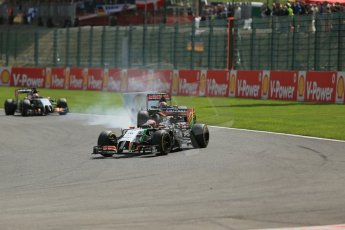 World © Octane Photographic Ltd. Sunday 24th August 2014, Belgian GP, Spa-Francorchamps. - Formula 1 Race. Sahara Force India VJM07 – Sergio Perez. Digital Ref: 1090LB1D1816