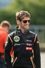 World © Octane Photographic Ltd. Sunday 24th August 2014, Belgian GP, Spa-Francorchamps. - Formula 1 Paddock. Lotus F1 Team - Romain Grosjean. Digital Ref: 1088LB1D1577