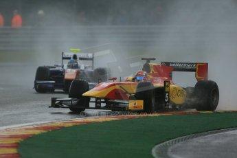 World © Octane Photographic Ltd. Friday Saturday 23rd August 2014. GP2 Race 1 – Belgian GP, Spa-Francorchamps. Raffaele Marciello - Racing Engineering and Johnny Cecotto - Trident. Digital Ref : 1086LB1D0573