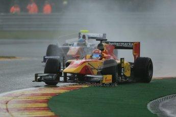 World © Octane Photographic Ltd. Friday Saturday 23rd August 2014. GP2 Race 1 – Belgian GP, Spa-Francorchamps. Raffaele Marciello - Racing Engineering and Johnny Cecotto - Trident. Digital Ref : 1086LB1D0576