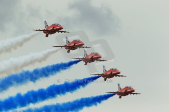 World © Octane Photographic Ltd. Saturday 5th July 2014. British GP, Silverstone, UK. - Formula 1 Paddock. Royal Air Force Red Arrows. Digital Ref: 1025LB1D0949