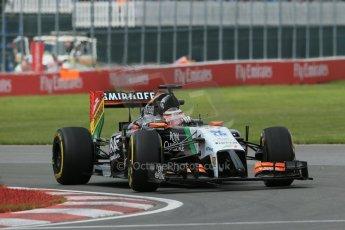 World © Octane Photographic Ltd. Friday 6th June 2014. Canada - Circuit Gilles Villeneuve, Montreal. Formula 1 Practice 2. Sahara Force India VJM07 – Nico Hulkenburg. Digital Ref : 0979LB1D3783