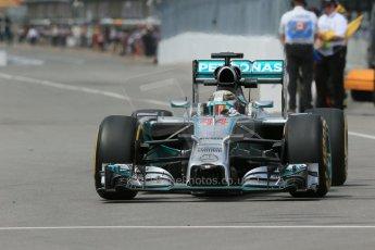 World © Octane Photographic Ltd. Friday 6th June 2014. Canada - Circuit Gilles Villeneuve, Montreal. Formula 1 Practice 2. Mercedes AMG Petronas F1 W05 Hybrid – Lewis Hamilton. Digital Ref: 0979LB1D3862