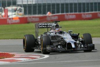 World © Octane Photographic Ltd. Friday 6th June 2014. Canada - Circuit Gilles Villeneuve, Montreal. Formula 1 Practice 2. McLaren Mercedes MP4/29 - Jenson Button. Digital Ref: 0979LB1D4008