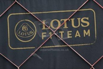 World © Octane Photographic Ltd. Friday 6th June 2014. Canada - Circuit Gilles Villeneuve, Montreal. Formula 1 Practice 2. Lotus F1 Team logo. Digital Ref: 0979LB1D4974