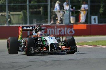 World © Octane Photographic Ltd. Friday 6th June 2014. Canada - Circuit Gilles Villeneuve, Montreal. Formula 1 Practice 2. Sahara Force India VJM07 – Nico Hulkenburg. Digital Ref : 0979LB1D4983