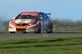 "World © Octane Photographic Ltd. Donington Park general unsilenced test day, 13th February 2014. Honda Yuasa British Touring Car Championship (BTCC) 2013 specification Honda Civic Tyre R (K20) - Gordon ""Flash"" Shedden. Digital Ref : 0891cb1d4012"