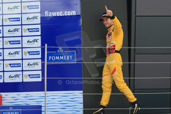 World © Octane Photographic Ltd. FIA European F3 Championship, Silverstone, UK, April 19th 2014 - Race 1. 1st - Jagonya Ayam with Carlin, Tom Blomqvist walks on to the podium. Digital  Digital Ref : 0909lb1d6977