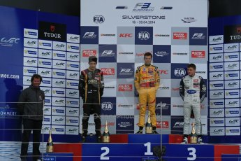 World © Octane Photographic Ltd. FIA European F3 Championship, Silverstone, UK, April 19th 2014 - Race 1 podium. 1st - Jagonya Ayam with Carlin, Tom Blomqvist. 2nd  - Prema Powerteam - Esteban Ocon. 3rd Carlin - Jordan King. Digital  Digital Ref : 0909lb1d7000