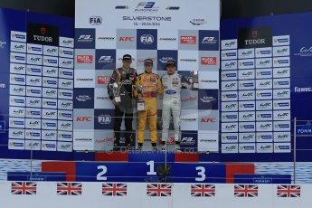 World © Octane Photographic Ltd. FIA European F3 Championship, Silverstone, UK, April 19th 2014 - Race 1 podium. 1st - Jagonya Ayam with Carlin, Tom Blomqvist. 2nd  - Prema Powerteam - Esteban Ocon. 3rd Carlin - Jordan King. Digital  Digital Ref : 0909lb1d7109