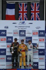World © Octane Photographic Ltd. FIA European F3 Championship, Silverstone, UK, April 19th 2014 - Race 1. 1st - Jagonya Ayam with Carlin, Tom Blomqvist. 2nd  - Prema Powerteam - Esteban Ocon. 3rd Carlin - Jordan King. Digital  Digital Ref : 0909lb1d7119