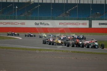 World © Octane Photographic Ltd. FIA European F3 Championship, Silverstone, UK, April 20th 2014 - Race 3. Prema Powerteam - Dallara F312 Mercedes – Antonio Fuoco and Esteban Ocon. Digital Ref : 0911lb1d1555