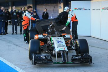 World © Octane Photographic Ltd. 2014 Formula 1 Winter Testing, Circuito de Velocidad, Jerez. Tuesday 27th January 2014. Sahara Force India VJM07 launched by Nico Hulkenburg and Sergio Perez. Digital Ref: 0883lb1d9956