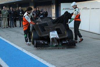World © Octane Photographic Ltd. 2014 Formula 1 Winter Testing, Circuito de Velocidad, Jerez. Tuesday 27th January 2014. Sahara Force India VJM07 launched by Nico Hulkenburg and Sergio Perez. Digital Ref: 0883lw7d7387
