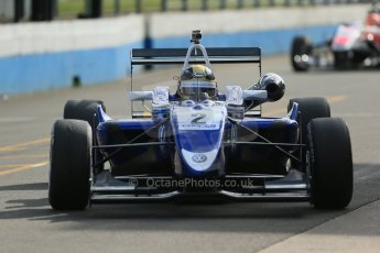 World © Octane Photographic Ltd. Cooper Tyres British Formula 3 Media Day, Castle Donington, Tuesday 8th April 2014. Carlin - Dallara F310 Volkwagen - Sam Brabham. Digital Ref : 0903lb1d3739